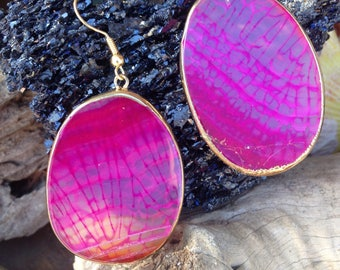 Agate Earrings - Hot Pink Earrings - Agate Jewelry - Pink and Gold