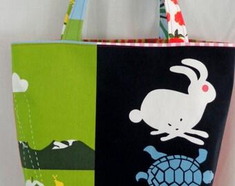 Medium Tote BAG, Small Diaper BAG, Work Purse, Beach Bag, Spring Summer IKEA, Bird, Rabbit, Turtle, Squirrel