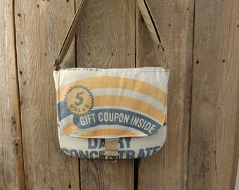 Vintage Larro dairy feed sack messenger bag