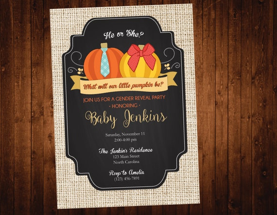 Pumpkin Fall Gender Reveal Party Invitation - Fall Gender Reveal - Pumpkin Baby Shower Gender Reveal Party Invite
