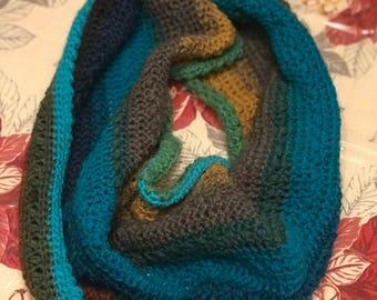 Crochet handmade infinity scarf/cowl , lightweight, ready to ship