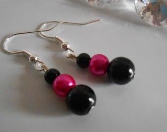 Wedding earrings authentic black and Fuchsia beads