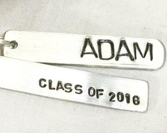 2018 graduation hand stamped key chain with graduate's name, graduation gift, boy graduate, girl graduate