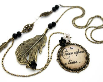 """Necklace cabochon """"once upon a time"""" and feather - glass vintage retro brass"""