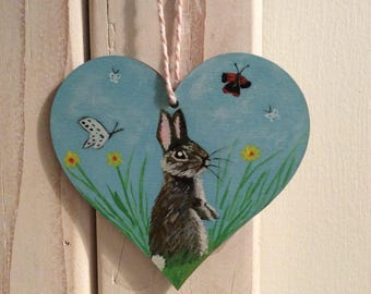Daffodil...bunny rabbit. Hand painted art heart. Flowers/butterflies/nature/gift/decoration/art. One of a kind.