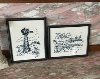 Vintage 70s Framed Embroidered Scene Pair Black and White Embroidery Needlework Landscape in Black Frames
