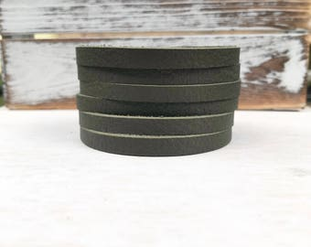 Leather Bangle Bracelet - Dark Olive