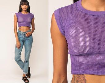 Mesh Crop Top Cropped Tshirt 80s Mesh Shirt Sheer Tank Top Purple Vintage Cap Sleeve 1980s T Shirt Tee Retro Extra Small xs