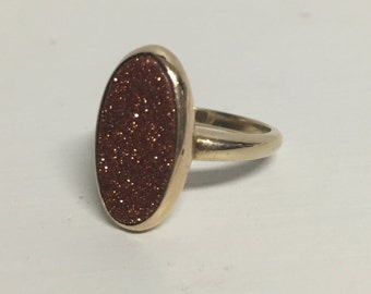 Sale!! Antique Gold with Sand Stone Ring -10K Rosy Yellow Gold– Finger Size 5.75
