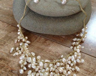 Handmade white pearl beads necklace/ wedding jewelry/ wedding necklace/ metal free necklace/ wedding pearl stones