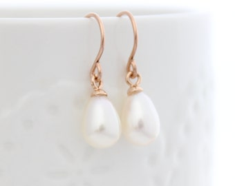 Pearl Drop Earring • Rose gold earrings with genuine pearl drops • Gifts for her