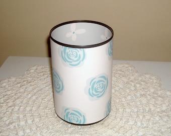 Pale Teal Floral Desk Accessories for Women /  Retro Teal Gray Pencil Holder / Pencil Cup / Office Desk Organizer / Dorm Decor - 1126