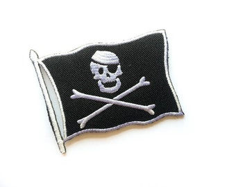 """Pirate Flag Patch - Pirate Flag Tattoo - Iron-on Patches - Pirate Flag - Appliqué - Embroidery - DIY Denim Jacket - Size 3"""" x 2.5"""" (P106)"""