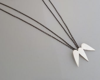 Layering leaf necklace.Minimal silver necklace. simple modern silver necklace. silver leaf  layering necklace. free shipping