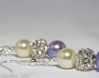 Lavender and Ivory Sparkling Earrings