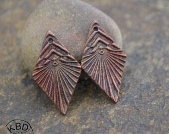 Handmade Copper Chevron Diamond Component pair