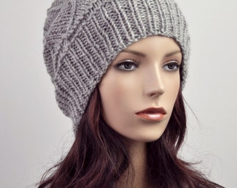 hand knit wool Hat grey woman hat - ready to ship