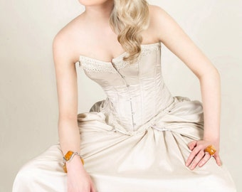 Steampunk Victorian corset wedding dress / prom with bustle MADE TO ORDER/ measure