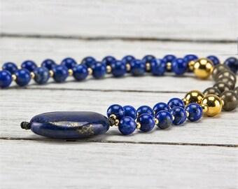 Lapis Lazuli Pyrite Gold Sincerity 6mm Gemstone Pendant Meditation Mala Necklace
