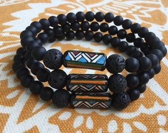 Unisex Stone Bracelet, Natural Lava Stone Bracelet, Diffuser Bracelet, Lava Diffuser Bracelet, Stretchy Diffuser Bracelet