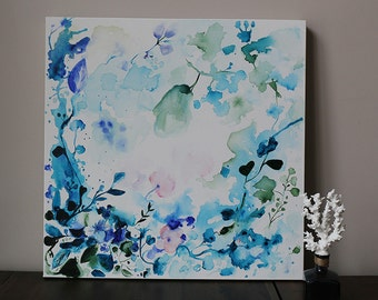 navy, dark blue, indigo blue ,nature,abstract flower painting,  blue abstract,Acrylic,ORIGINAL painting,FREE SHIPPING