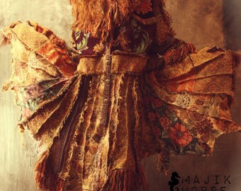 Vintage Tapestry Patchwork Hippie Gypsy Elf Fairy Coat Magical Carpetbagger Fringed MADE TO ORDER