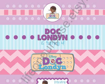 Doc McStuffins Birthday Party Water Bottle Labels