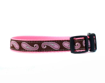 5/8 or 3/4 Inch Wide Dog Collar with Adjustable Buckle or Martingale in Pink Paisley