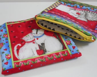 Feline Love/2 Zipper Pouches/Zipper Bags//Small Wallet/Cotton Bag/Zipper Wallet/Coin Purse/Womens Wallet/Cats