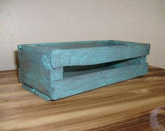 rustic wooden crate turquoise crate decoratvie crate wood crate small wood crate - Small Wooden Crates
