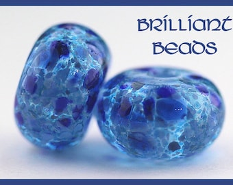 Blue Lagoon Lampwork Glass Bead Pair - Handmade Lampwork Beads SRA, Made To Order