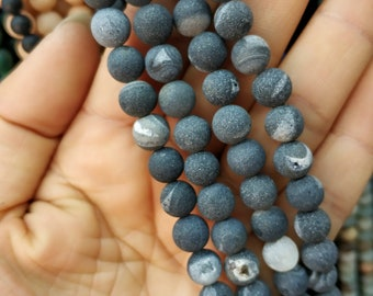 Matte Black Druzy Agate,Matte Black stone 8mm Round Beads- 47pcs/Strand