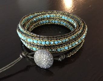 Turquoise and Gold 5 Wrap Bracelet