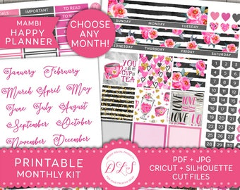 Happy Planner Monthly Printable Stickers, Cricut Happy Planner Stickers, Printable Monthly Planner Kit, Black Pink Planner Stickers, HPE109