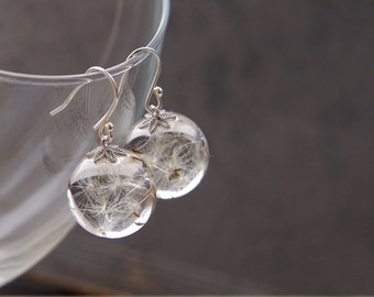 Dandelion earrings ⇷16mm⇸ Crystal resin dangle earrings | Real Dandelion Seeds jewelry Sphere earrings Gift from nature Make a wish jewelry
