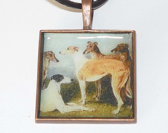 SueBero Altered Vintage Art 5 Greyhound Dogs Pendant Necklace C