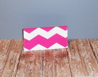 Checkbook Cover - Pink & White Chevron