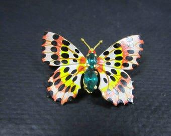 Czechoslovakia enameled butterfly brooch with green rhinestones