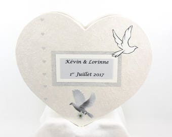 Wedding - piggy bank - white and gray ceremony urn pot bead