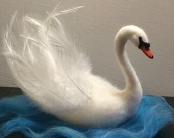 Needle felted Birds, Waldorf, White Swan, Nursery ornament, Gift, Soft sculpture, Animals , Wool,  Bird, Art decor