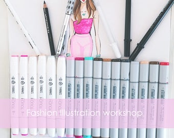 Fashion Illustration online workshop, Fashion Sketch online tutorial