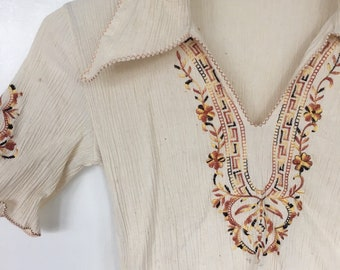 Vintage Shirt Peasant Blouse Greek tourist blouse embroidered womens xxsmall or childrens large