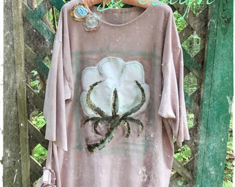 Rustic Cotton Boll Plus Size Tunic Made to Order KellyJacksonDesign
