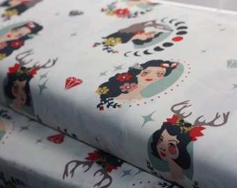 Tall Tales Madame Cream Organic Cotton Fabric - Birch Fabrics by Arleen Hillyer