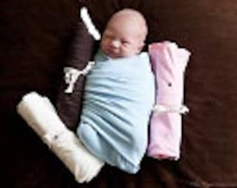 Cotton Jersey Knit Swaddling Blanket. Super soft and extra large for swaddling your infant longer