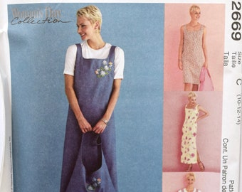 McCall's 2669 Sewing Pattern Misses' Dress or Jumper and Tote Bag One Hour Project Women's Day Collection UNCUT FF Sizes 10-12-14