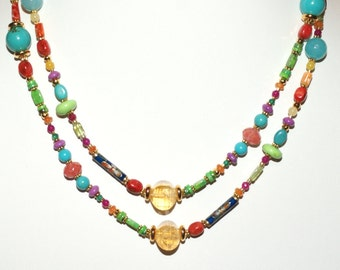 Colorful and Versatile Gemstone Summertime Necklace - 39 inches