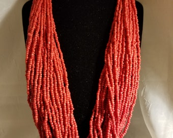"""Red coral multi strands necklace 24"""""""