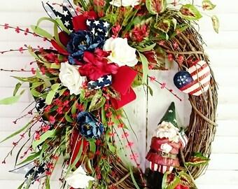 Americana Front Door Wreath, Patriotic Wreaths, Front Door Wreaths, Summer Wreaths, Year Round Wreaths, Farmhouse Wreaths,  Wreaths    W306