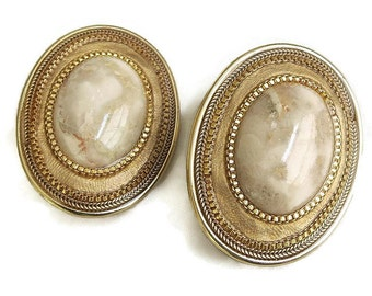 Tan and Orange Agate Cabochon Earrings Polished Vintage